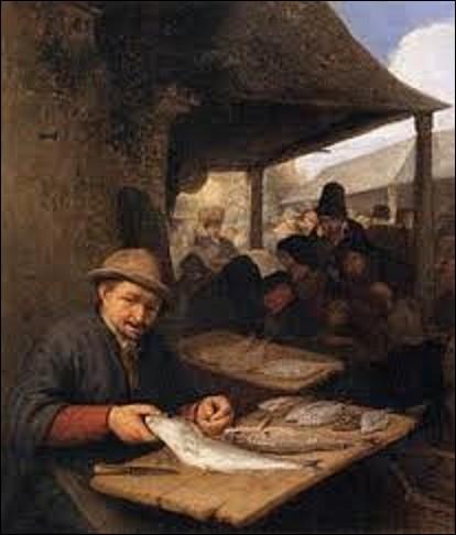 """Acquit lors d'une vente publique de tableaux par le musée du Louvre en 1801, """"Le Marché aux poissons"""" est l'oeuvre d'un peintre et graveur néerlandais (1610-1685). Peinte en 1659, cette toile décrit un marché urbain, thème fort répandu de la peinture flamande à cette époque. Qui en est l'auteur ?"""