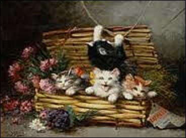 """Goguettier, philanthrope et artiste peintre montmartrois (1858-1928), il fait de la peinture représentant des chats, sa spécialité. Ses reproductions et ses œuvres continuent à avoir du succès auprès de nos amis les matous et se vendent toujours dans le commerce. Mais quel est le nom de cet amoureux de ce petit félin qui a peint cette toile intitulée """"Un panier plein de chats"""" ?"""
