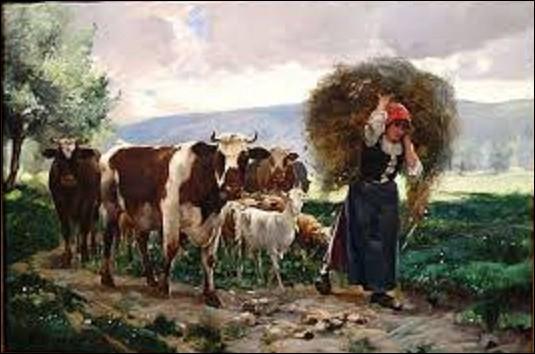 """Quel peintre naturaliste a créé cette oeuvre intitulée """"Retour à la ferme"""", vers 1895 ?"""