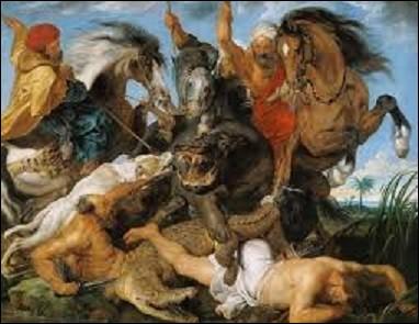 """Représentant un chien de chasse, deux hommes torse nu et des cavaliers habillés à l'orientale, ce tableau réalisé vers 1615 intitulé """"La chasse à l'hippopotame et au crocodile"""", est l'oeuvre d'un peintre baroque flamand qui se nomme :"""