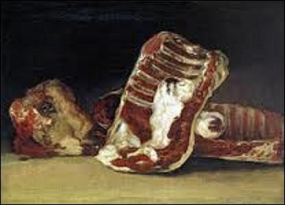 """Peinte entre 1808 et 1812, """"Nature morte avec des côtes et une tête d'agneau"""" est une huile sur toile créée par un artiste peintre et graveur de mouvement préromantique, quel est son nom ?"""