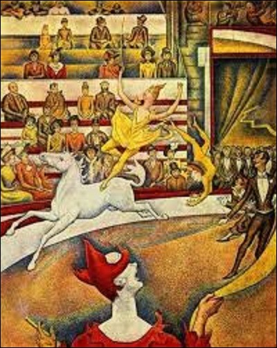 """Quel artiste de mouvement divisionnisme (1859-1891) a peint, en 1890, cette huile sur toile représentant le numéro de l'écuyère du cirque Fernando (futur cirque Medrano) portant le nom de """"Le Cirque"""" ?"""