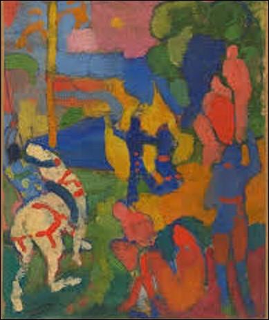 """Pourriez-vous me citer le nom de ce peintre de mouvement fauvisme qui a créé cette huile sur toile, en 1905, intitulée """"Le Cavalier au cheval blanc"""" ?"""