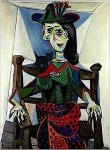 """On commence gentiment, par cette toile de 1941, intitulée """"Dora Maar au chat"""". Quel peintre cubiste et surréaliste, également dessinateur et sculpteur (1881-1973) créa cette toile représentant l'amante et la muse de l'artiste à cette époque ?"""