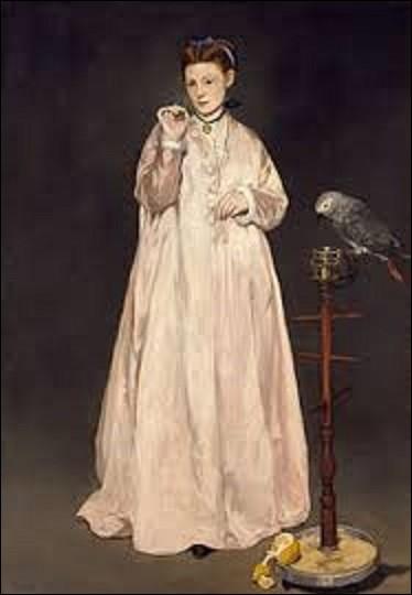 """Réalisée en 1866 """"La Femme au perroquet"""" est une huile sur toile représentant Victorine Meurent (1844-1927), aussi artiste peintre, qui était la modèle préférée de ce peintre impressionniste et réaliste (1832-1883) qui se nomme :"""