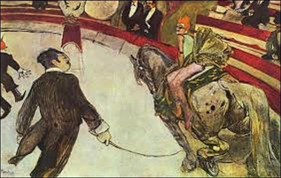 """Peinte en 1888, cette huile sur toile, actuellement conservée à l'Institut d'art de Chicago, se nomme """"Au cirque Fernando"""" ou """"Au cirque Fernando- L'Écuyère"""". Quel peintre de mouvement postimpressionnisme et d'Art nouveau a représenté cette scène ?"""