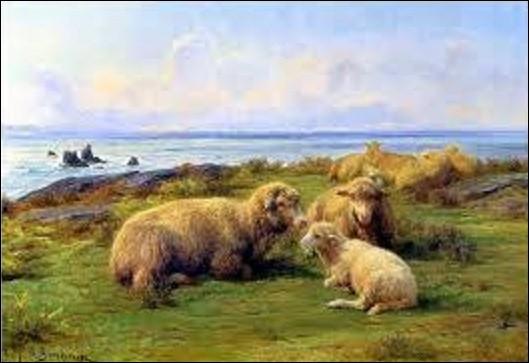 """Pouvez-vous me citer le nom de ce peintre animalier(ère), qui créa cette oeuvre, en 1865, intitulée """"Moutons sur mer"""" ou """"Moutons au bord de la Mer"""" ?"""