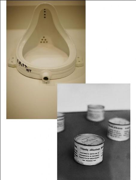 """Si """"La Fontaine"""" de Duchamp (1917) est très connue, que contiennent donc ces boîtes de Peiro Manzoni en 1961 ?"""