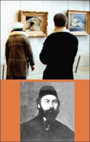 """Immisçons-nous dans """"L'origine du monde"""" de Courbet. Quel rapport existe-t-il entre Khalil-Bey (l'homme du bas sur l'image) et le tableau ?"""