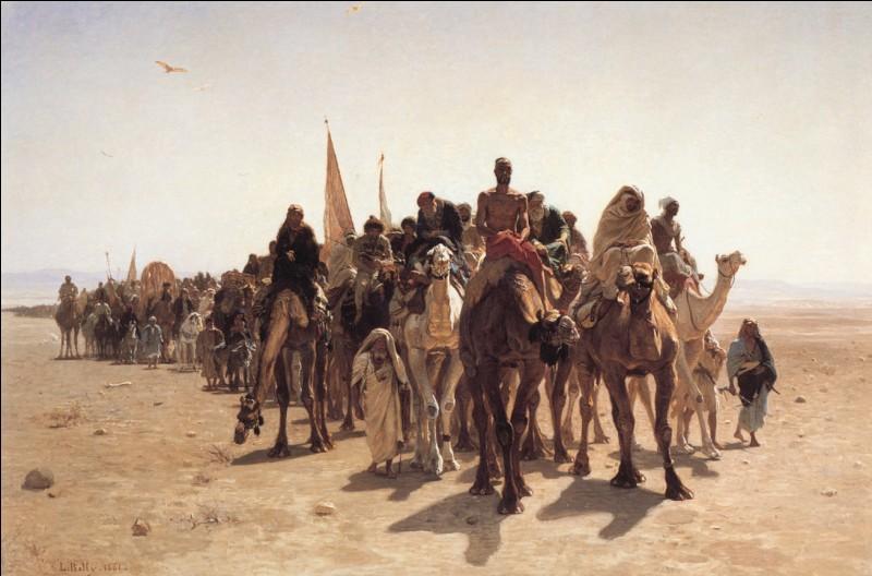 """En 1861, Jean Belly expose avec succès """"Pèlerins vers La Mecque"""". Un détail étonnant est présent dans le tableau. Lequel ?"""