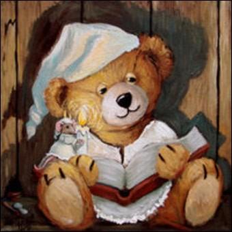 Le première chose que je retrouve est mon vieux Teddy bear qui porte....
