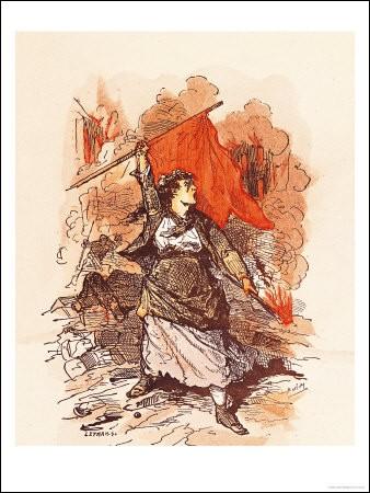 """Avant la scission entre anarchistes et communistes au sein de la """"1re Internationale"""" en 1876, et la création du drapeau noir par Louise Michel dans une manifestation en 1983, les anarchistes se ralliaient sous un drapeau :"""