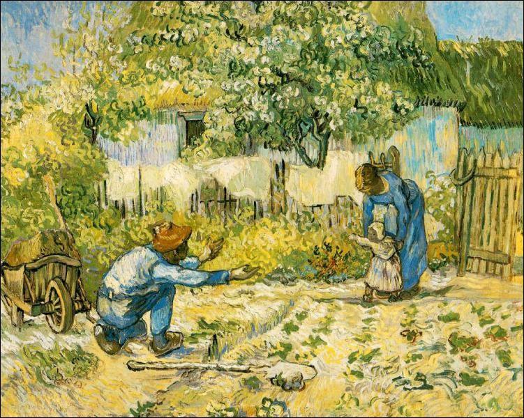 """Qui a représenté ce jardin, sur cette toile intitulée """"les premiers pas"""" ?"""