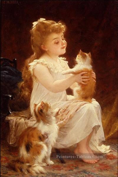 Qui a peint cette petite fille jouant avec des chats ?