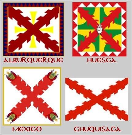 Les emblèmes des villes espagnoles d'Alburquerque (Estremadura), d'Huesca (Aragon), de Mexico et de Chuquisaca (Bolivie) comportent la même croix centrale. Laquelle ?