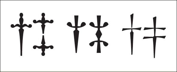 """Cette croix typographique représente en réalité un poignard (ou """"dagger"""", dague). Quel est son véritable nom ?"""