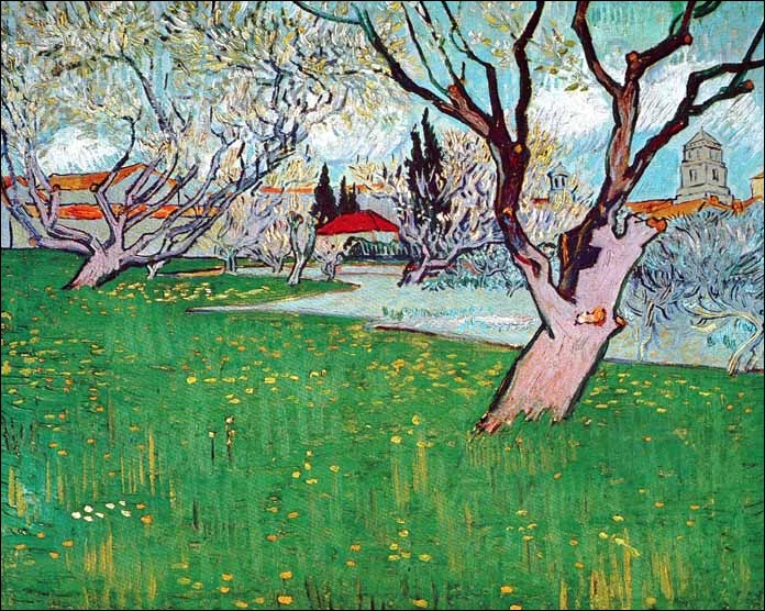 "Qui a peint ""Verger en fleurs avec vue d'Arles"" ?"