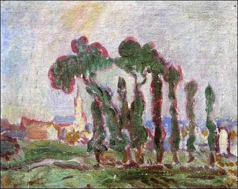 """Qui a peint """"L'église derrière les trois arbres en Normandie"""" ?"""