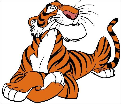 """Toujours dans l'univers de l'animé """"Le Livre de la jungle"""", comment se nomme ce tigre du Bengale cruel, impitoyable et dangereux qui essaie de se débarrasser au plus vite de Mowgli ?"""
