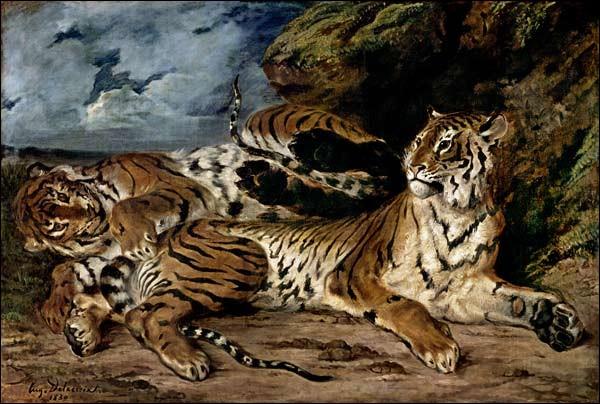 Quel peintre, représentant principal du romantisme, a réalisé cette toile intitulée « Le jeune tigre joue avec sa mère » ?
