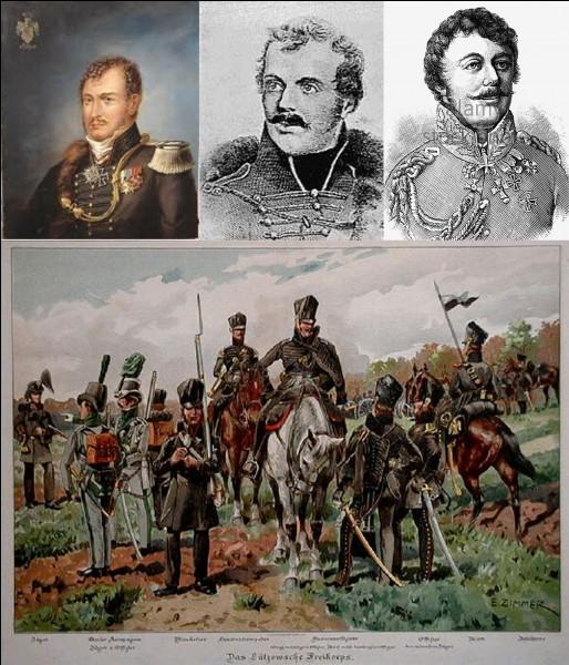 1e Empire : Ce baron fit partie de l'armée prussienne pendant les guerres napoléoniennes. Il est connu pour avoir organisé une unité de volontaires et la création de corps francs. Hitler et Goebbels utilisèrent son nom à leur profit !Qui est ce général ?