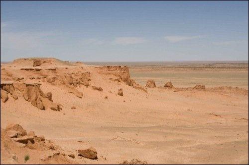 """Sa découverte a été faite dans un lieu qu'il baptisa """"falaises flamboyantes"""". C'est aussi sur ce lieu que Chapman et son équipe trouvèrent des fossiles de dinosaures encore inconnus à l'époque comme..."""