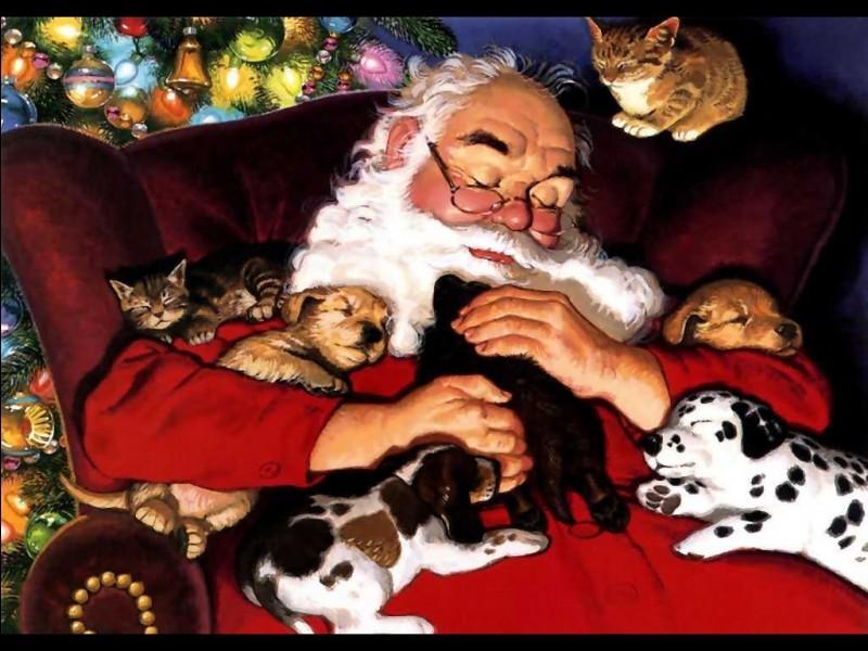 Fatigué, le père Noël s'est endormi chez nos amis félins. Qui sont les invités ?