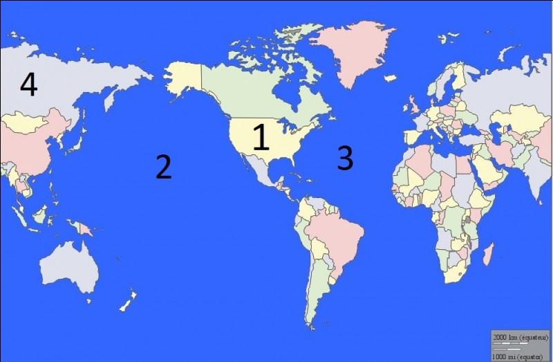 2e partie : Savoir reconnaître un pays ou un océanQuel pays se cache derrière le numéro 1 ?
