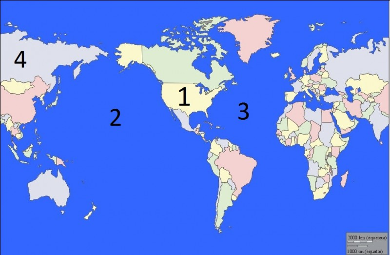 Quel océan se cache derrière le numéro 3 ?