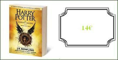 """Le livre """"Harry Potter et l'Enfant maudit"""" : 14.00 €"""