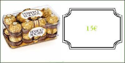 Une boîte de seize Ferrero Rocher : 15.00 €