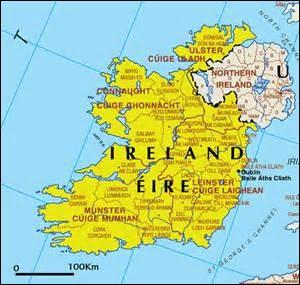 Quel(les) mer(s)/océan(s) borde(nt) l'Irlande ?