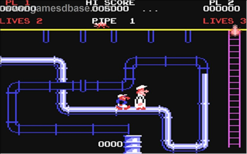 Accompagné d'un ouvrier, le joueur doit réparer les canalisations et se méfier des cafards qui tombent du plafond. Sorti en 1983, quel est ce jeu au concept original ?