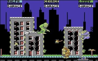 George, un gorille à la King Kong, Lizzie, un reptile à la Godzilla, et Ralph, un loup-garou géant, doivent détruire tous les immeubles du quartier en résistant aux forces armées. Quel est ce jeu sorti en 1987 sur C64 ?