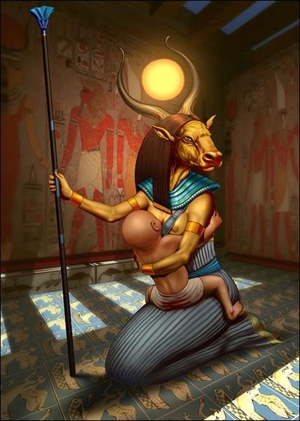 Vache primitive céleste, maîtresse du lait nourricier du soleil, présentée parfois comme la mère d'Anubis. Qui est-elle ?