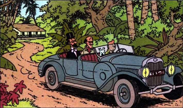 Tintin emmène deux fous dans une Lincoln torpédo. Dans quel album est-ce ?