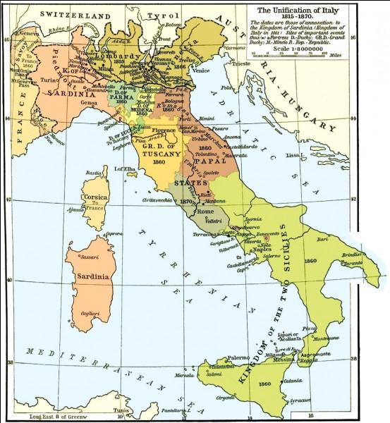 Démarrons ce quiz en 1815 après la défaite de Napoléon, lors du redécoupage des frontières européennes définies par le traité de Vienne.Le redécoupage n'est pas très enclin à l'unité italienne vu que la péninsule est subdivisée en plusieurs États.En 1815, combien de pays composaient l'actuelle Italie ?
