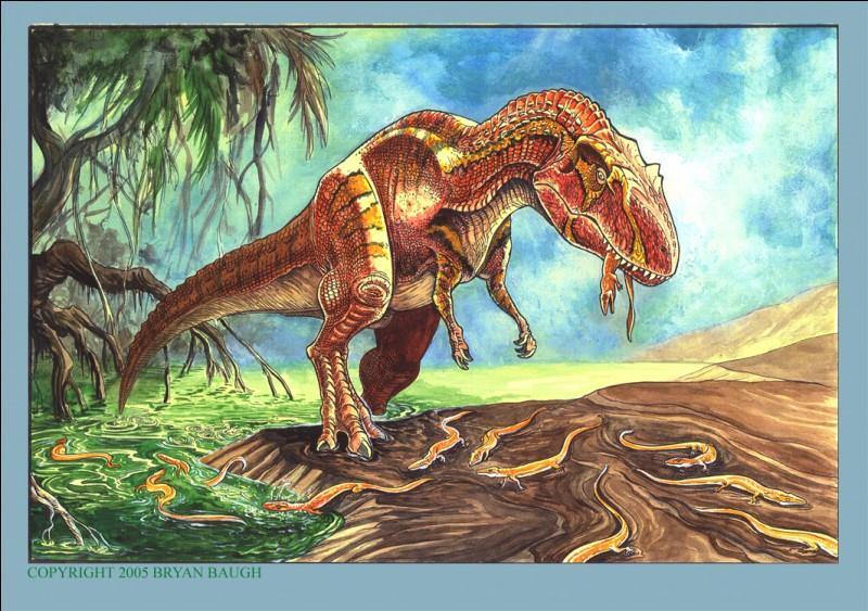 Maintenant, voici les dinosaures qui régnaient sur le monde de la même manière que le tyrannosaure rex. Il y avait le saurophaganax, dont le nom signifie...