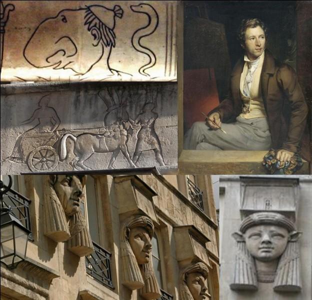 Allons au « 2, place du Caire » !C'est l'ancien emplacement d'un atelier appartenant au peintre Antoine-Jean Gros. Un de ses élèves, Henri Bougenier, était connu pour son très mauvais caractère. Vous pourrez admirer sa caricature au milieu d'hiéroglyphes et de statues d'un style « néo-égyptien ».Mais comment a-t-il été représenté sur la façade ?