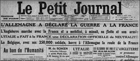Qui était Président de la République lors du déclenchement de la première guerre mondiale ?