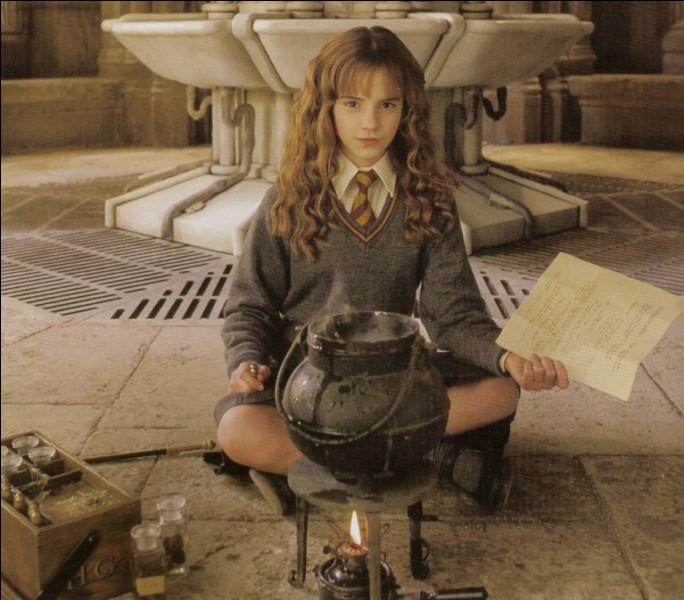 """Dans """"Harry Potter et la chambre des secrets"""", que prépare Hermione pendant 1 mois dans les toilettes des filles ?"""