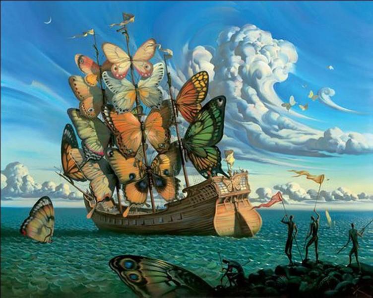 """Ce tableau est de Salvador, il s'intitule """"Voiles et papillons"""" :"""