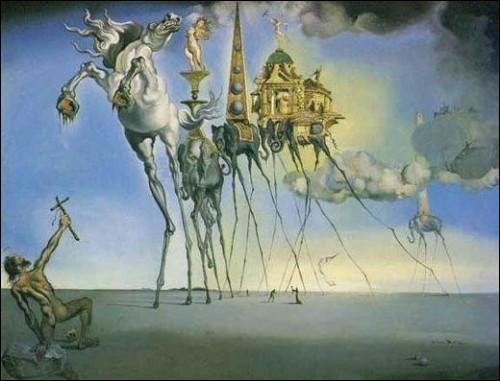 """Dali a peint """"La tentation de Saint-Antoine"""" :"""