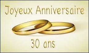 Vous êtes invités aux 30 ans de mariage de Fabienne et Jean-Luc. Vous allez fêter avec eux leurs noces