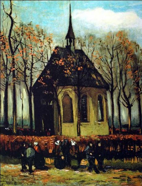 """C'est van Gogh qui a peint cette toile nommée """"Sortie de l'église"""" :"""