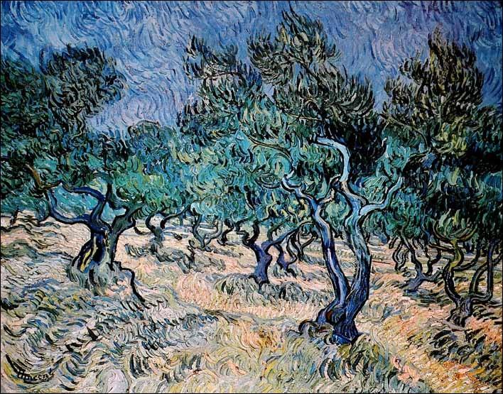 Ceci est est le champ aux cyprés de van Gogh :