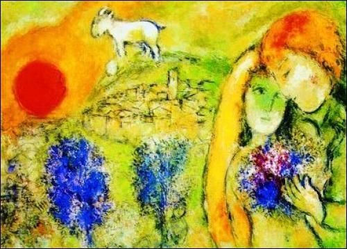 Peinture de Chagall, ce sont les amoureux de Vence :