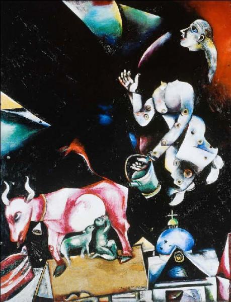 """Cette toile de Chagall s'intitule """"A la Russie, aux ânes et aux autres"""" :"""