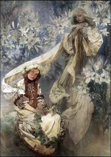 En 1905, quel peintre du mouvement Art nouveau (1860-1939), aussi affichiste, illustrateur, graphiste, architecte d'intérieur et décorateur, a peint cette toile intitulée ''La Madone aux lys'' ?