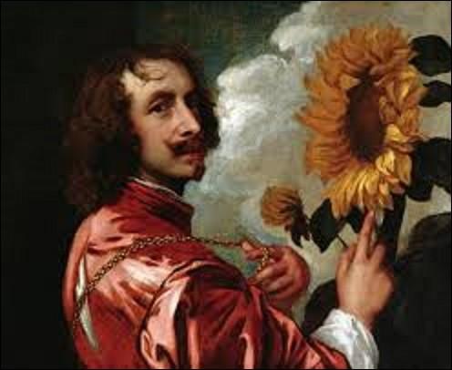 """""""Autoportrait au tournesol"""" est un immense tableau (H : 5,84 m x L : 7,30 m) réalisé entre 1632 et 1633. Quel peintre et graveur flamand du mouvement baroque (1599-1641) s'est représenté sur cette huile sur toile près de cette fleur ?"""
